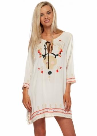 Dress The Hidden Crosses Skull Embroidered Cream Tunic