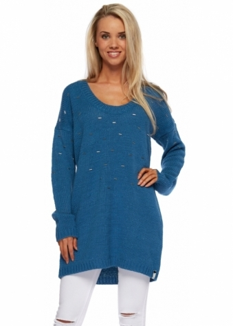 On The Road Beaded Knit Dirty Blue Jumper Dress