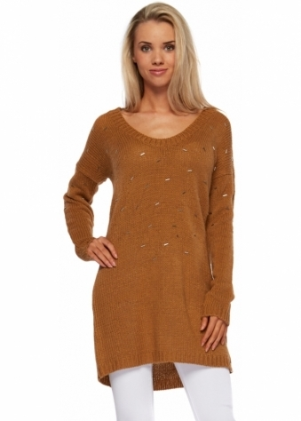 On The Road Beaded Knit Tan Jumper Dress