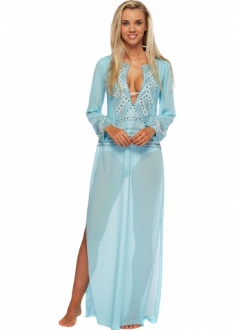 Holt Hand Painted With White & Silver Accents Kim Maxi Kaftan