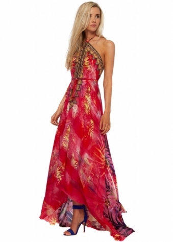 Red Amazonia Palm Silk Crepe Maxi Dress