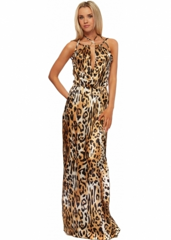 Leopard Print Hollywood Goddess Maxi Dress