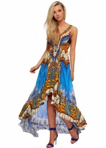Blue Crepe Silk Hi Low Metamorphosis Print Dress