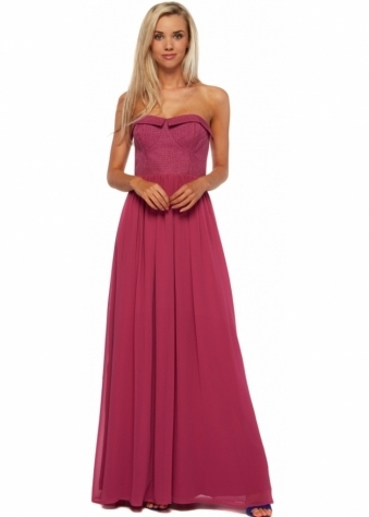 Berry Pink Maxi Dress With Textured Bandeau Bustier Top