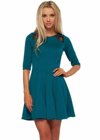 Closet Lace Back Ribbed Fit & Flare Mini Dress In Teal
