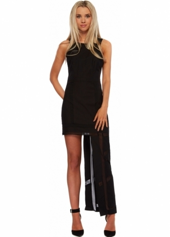 Black Linen Mesh Insert Hi Lo Maxi Dress