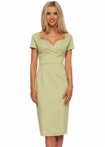 Gerry Roxby Camille Vintage Inspired Pale Green Pencil Dress