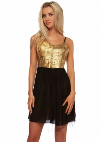The Fear & Loathing Gold Leather Dress
