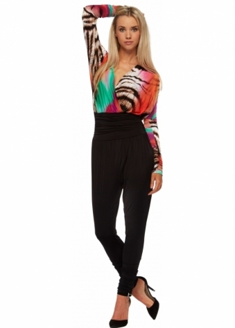 Just Unique Lola Jumpsuit With Multicoloured Print Cross Over Bodice