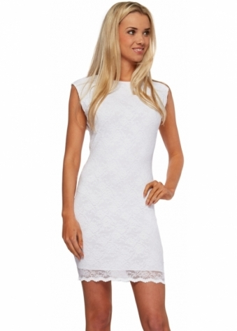 Honor Gold White Lace Keyhole Back Eliza Mini Dress