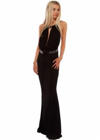 Black Crystal Back Grecian Style Evening Dress