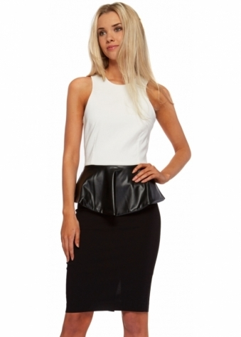 Faux Leather Peplum Monochrome Pencil Dress