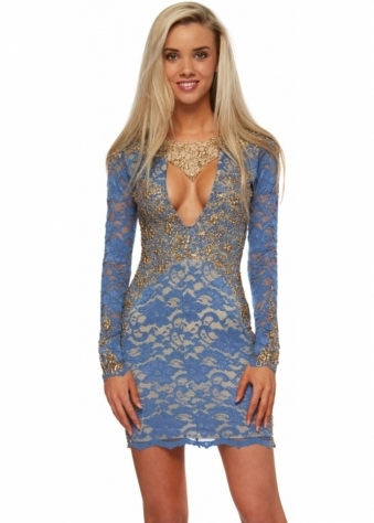 Demi Dress In Denim Blue Lace With Gold Paint Accents