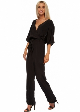 Dancing Leopard Black Kimono Backless Jumpsuit