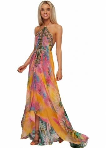 Parides Orange Amazonia Palm Silk Crepe Maxi Dress