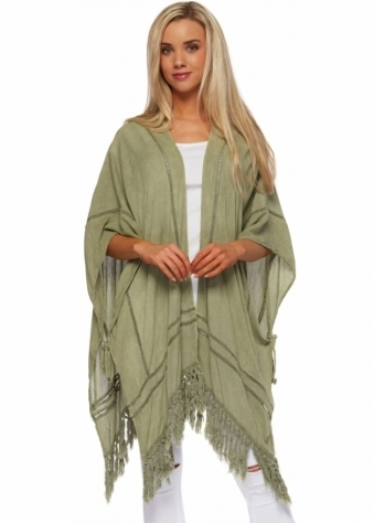J&L Paris Green Crepe Kimono Jacket With Fringed Hem