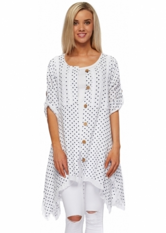 Sugar Babe Navy & White Spotted Linen Long Shirt