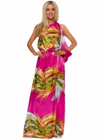 One Shoulder Split Sleeve Maxi Dress In Fuchsia Pink