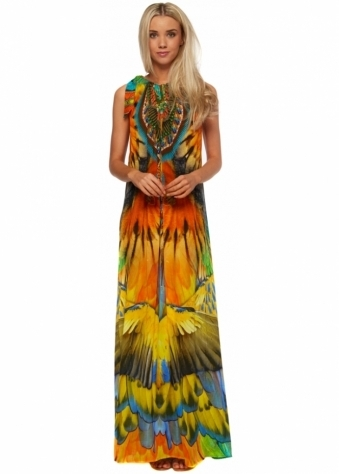 Macaw Print Silk Crepe Tie Neck Maxi Dress