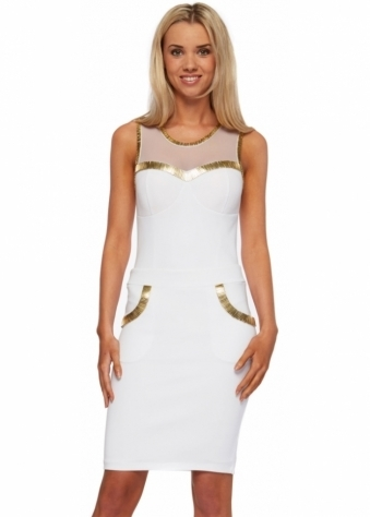 Ava Dress White Midi Embellished With Gold