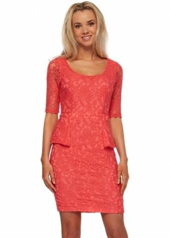 Serina Sophia Stella Coral Lace Peplum Dress