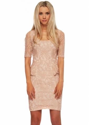 Serina Sophia Stella Beige Rose Lace Peplum Dress