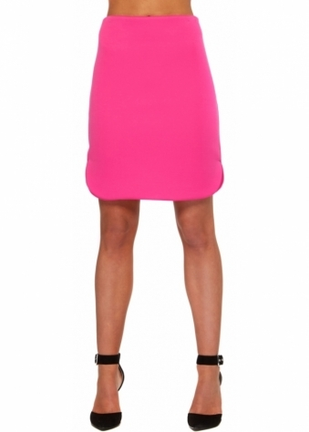 You Belong To Me Mini Skirt In Fuchsia Neoprene