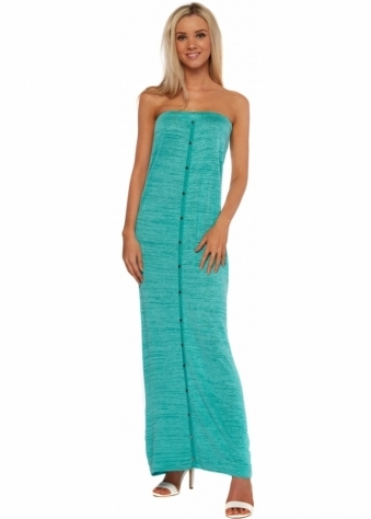 Odemai Fine Knit Tube Maxi Dress In Turquoise With Gold Sparkle