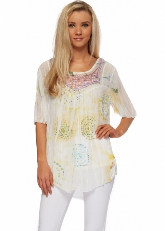 Pinka Embroidered Neckline Crinkle Chiffon Yellow Print Blouse Top