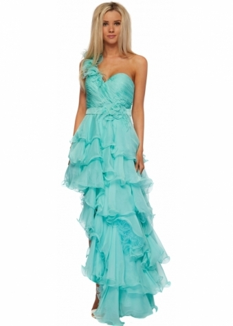 Dress Paloma One Shoulder Flower & Feather Aqua Prom Dress