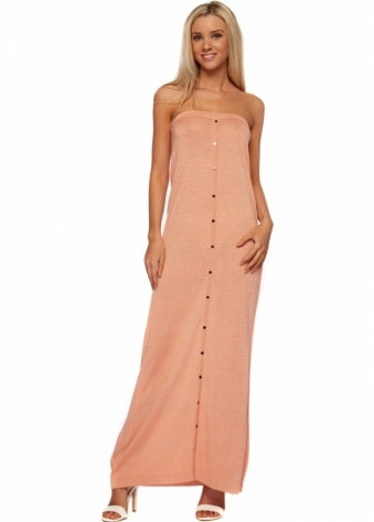 Odemai Fine Knit Tube Maxi Dress In Peach With Gold Sparkle