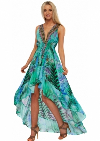 Parides Turquiose Green Palm Print Hi Low Silk Crepe Dress