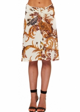 Just Cavalli Cream Cornucoppia Horseshoe Waistband Skirt