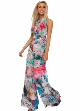 Rebecca Rhoades Multicoloured Silky Halterneck Wide Leg Tia Jumpsuit