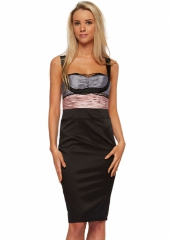 Forever Unique Pencil Dress With Pink & Grey Pleated Bodice