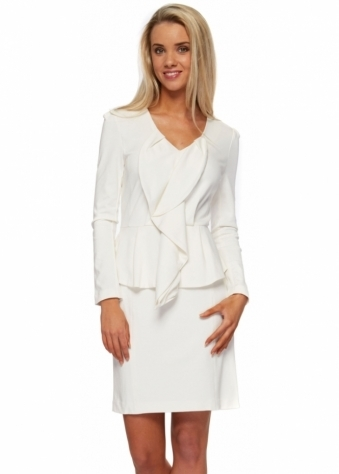 Cream Jersey Peplum Frill Long Sleeved Dress