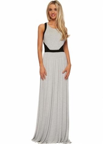 Lucy Paris Grey Marl Jersey Maxi Dress With Mesh Insert