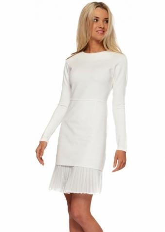 Lavish Alice LINDSAY LOHAN White Pleated Chiffon Hem Mini Dress