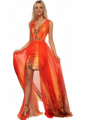 Party 21 Orange Silk Dress With Maxi Length Draped Skirt