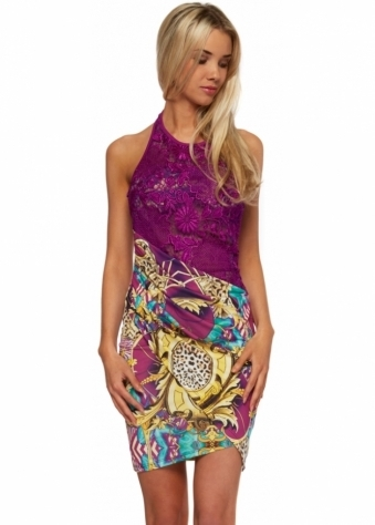 Vibrant Print Mini Dress With Purple Lace Bodice