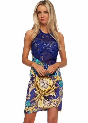 Vibrant Print Blue Lace Halterneck Mini Dress