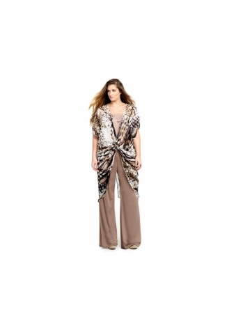 Taupe Jersey Wide Leg Pants