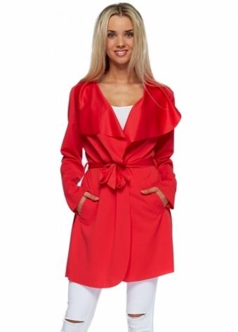 Designer Desirables Red Tie Belt Waterfall Front Lightweight Jacket