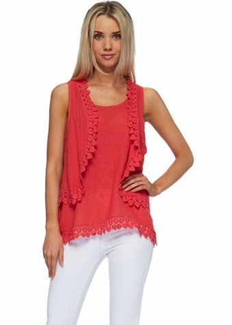 Coral Red Linen Crochet Vest & Bolero Twin Set