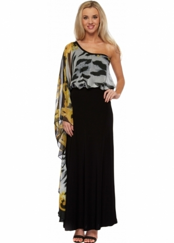 Zebra Print Chiffon One Shoulder Maxi Dress