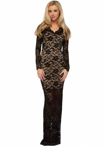 Jessica Wright Kate Black & Nude Long Sleeve Maxi Lace Dress