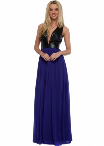 Black Faux Leather Cross Back Purple Chiffon Maxi Dress