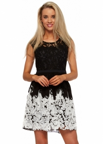 Black Lace & White Applique Roses Party Dress