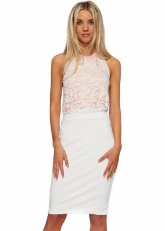 Hedonia Ivory & Nude Lace Halter Neck Midi Dress