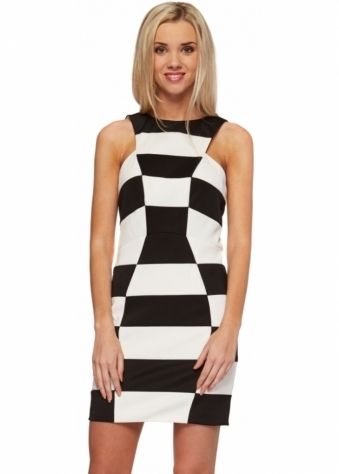 Forever Unique Selfish Vice Black & White Fitted Dress